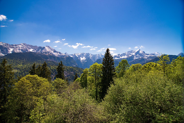 Fantastischer Ausblick vom Eckbauer-Gipfel aufs Alpenpanorama.