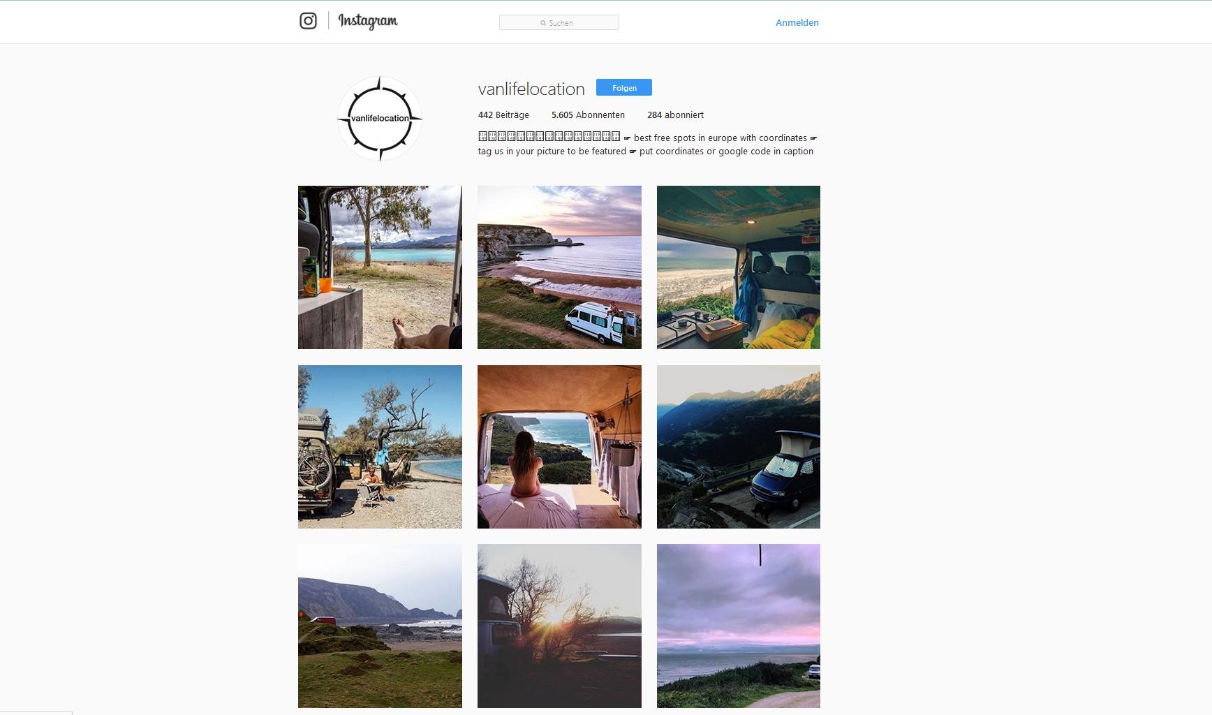 Der Instagram-Account vanlifelocation