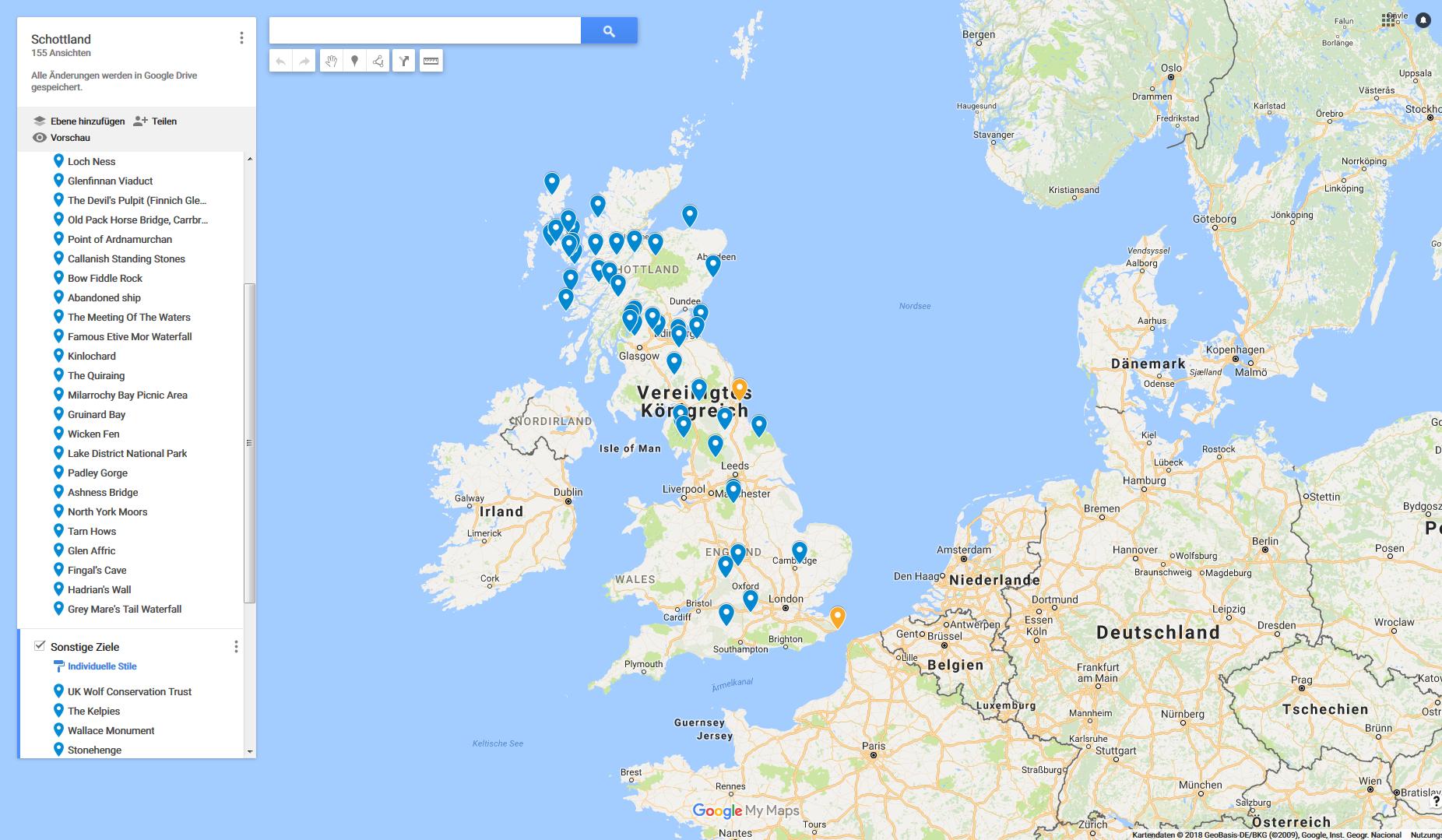 Google-Karte mit MyMaps gestaltet